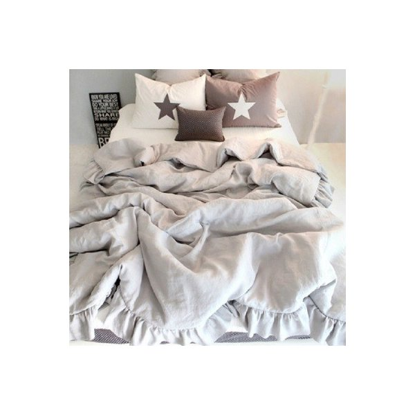 【S】シャビーシックスタイル シンプルフリル コットン ベッドカバー 3点セット|roomfort