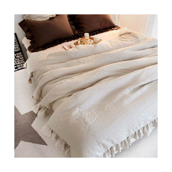 【S】シャビーシックスタイル シンプルフリル コットン ベッドカバー 3点セット|roomfort|03