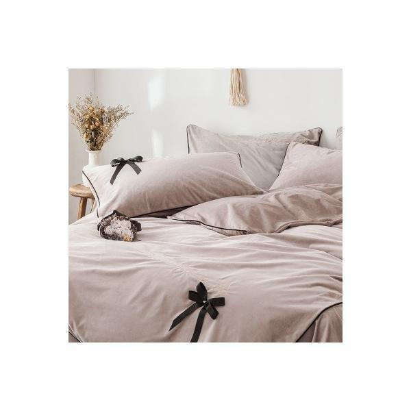 【SD/D/Q】エレガント 高級感 グログランリボン ロゴ刺繍 ベロア素材 ベッドカバー 4点セット roomfort