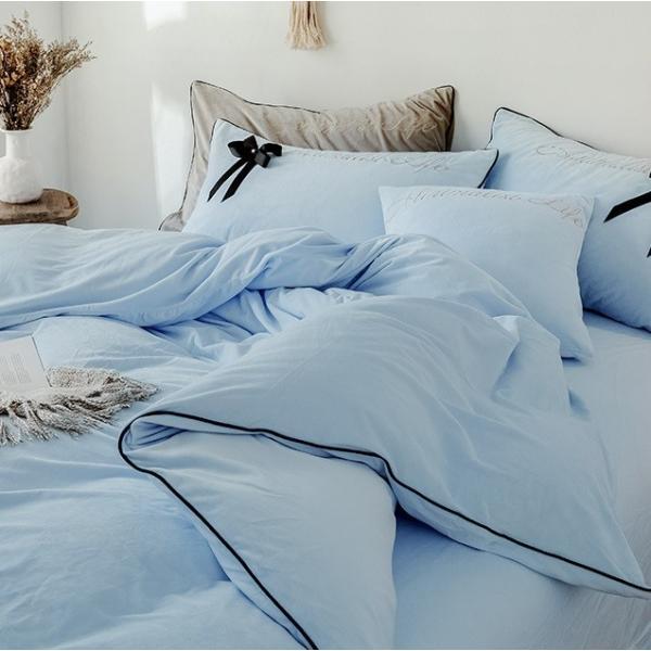 【SD/D/Q】エレガント 高級感 グログランリボン ロゴ刺繍 ベロア素材 ベッドカバー 4点セット roomfort 11
