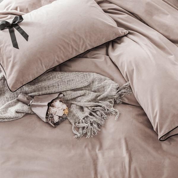 【SD/D/Q】エレガント 高級感 グログランリボン ロゴ刺繍 ベロア素材 ベッドカバー 4点セット roomfort 04