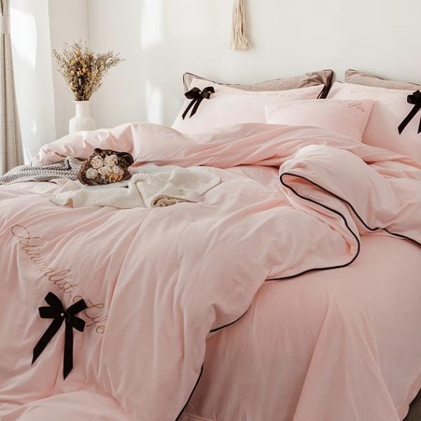 【SD/D/Q】エレガント 高級感 グログランリボン ロゴ刺繍 ベロア素材 ベッドカバー 4点セット roomfort 05