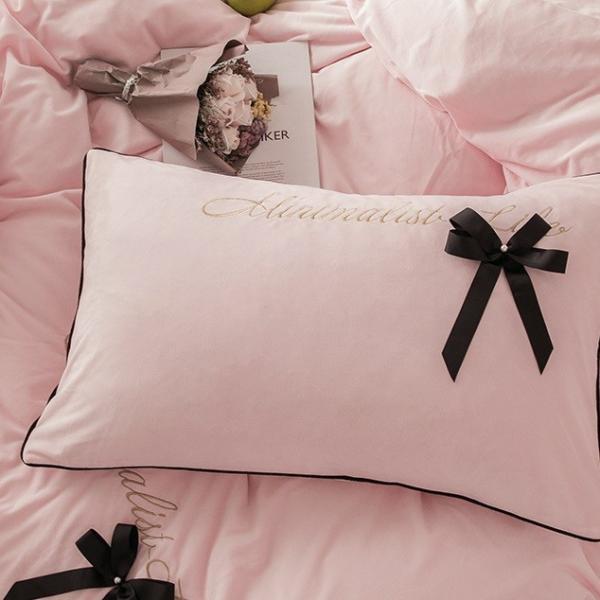 【SD/D/Q】エレガント 高級感 グログランリボン ロゴ刺繍 ベロア素材 ベッドカバー 4点セット roomfort 06
