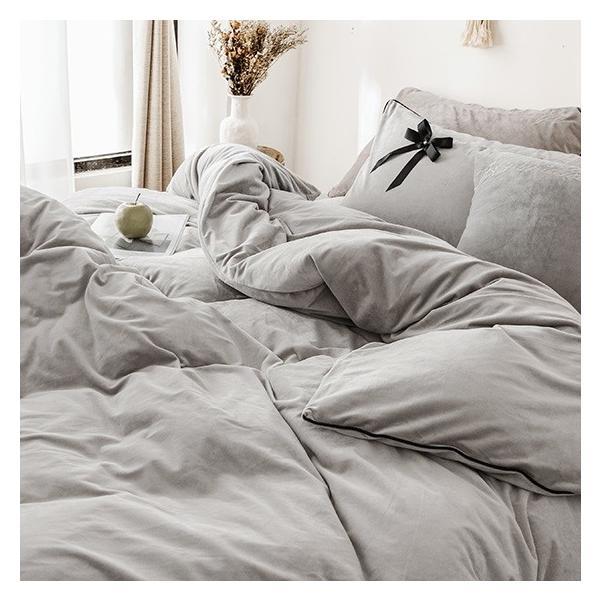 【SD/D/Q】エレガント 高級感 グログランリボン ロゴ刺繍 ベロア素材 ベッドカバー 4点セット roomfort 07