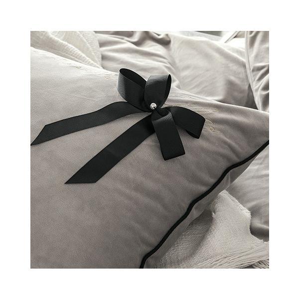 【SD/D/Q】エレガント 高級感 グログランリボン ロゴ刺繍 ベロア素材 ベッドカバー 4点セット roomfort 08