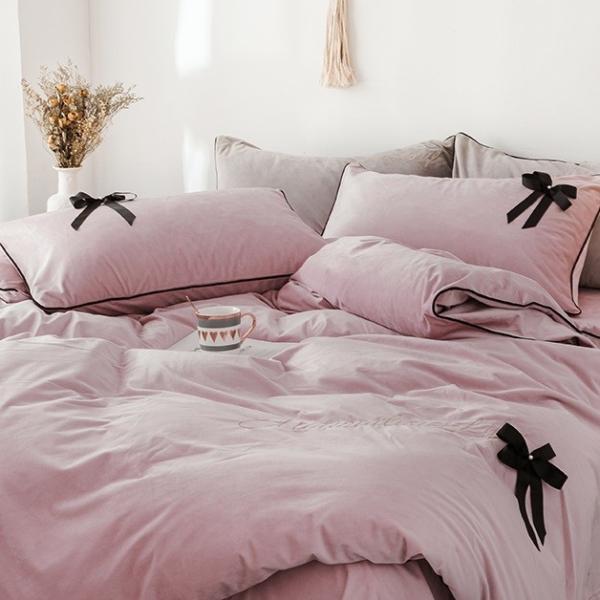 【SD/D/Q】エレガント 高級感 グログランリボン ロゴ刺繍 ベロア素材 ベッドカバー 4点セット roomfort 09