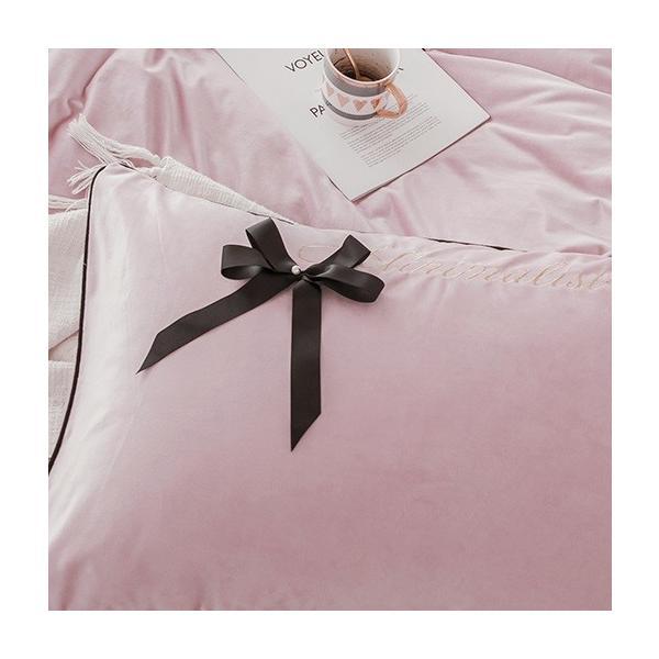 【SD/D/Q】エレガント 高級感 グログランリボン ロゴ刺繍 ベロア素材 ベッドカバー 4点セット roomfort 10