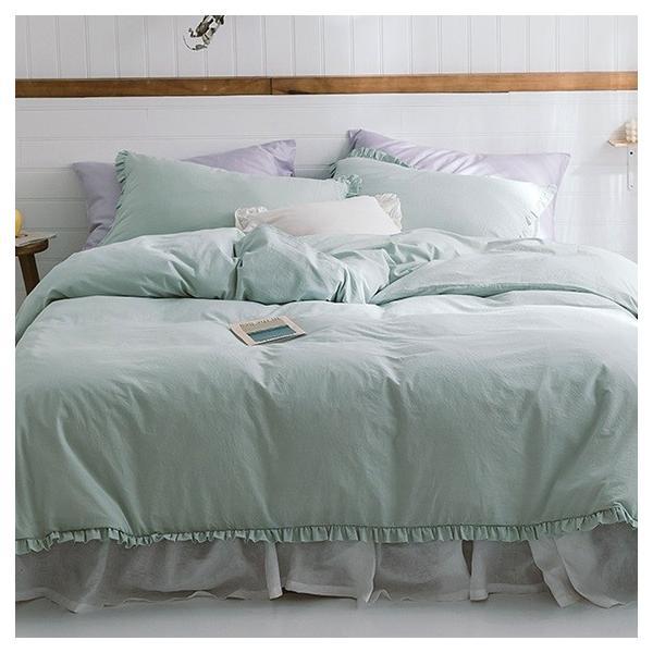 【S】カラー豊富☆ ショートギャザーフリル コットン ベッドカバー 3点セット|roomfort|07