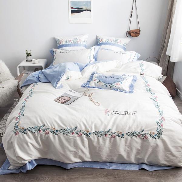 【SD/D/Q】花柄刺繍フレーム シンプルかわいい バイカラー ベッドカバー 4点セット roomfort