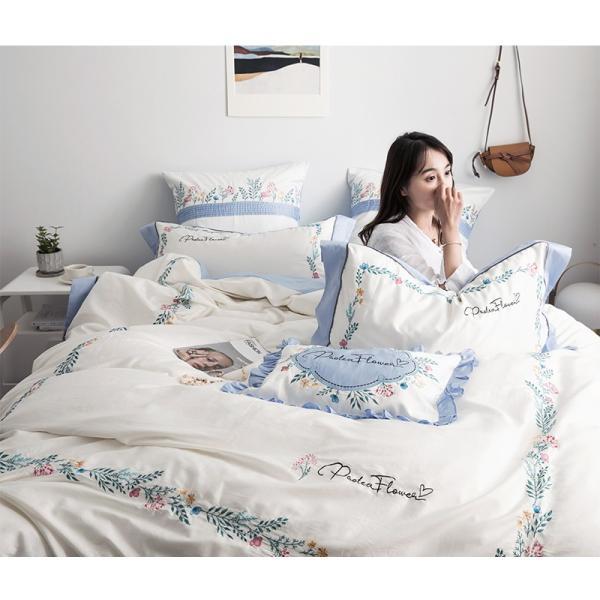 【SD/D/Q】花柄刺繍フレーム シンプルかわいい バイカラー ベッドカバー 4点セット roomfort 02