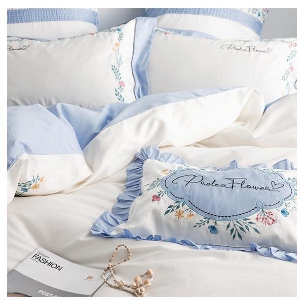 【SD/D/Q】花柄刺繍フレーム シンプルかわいい バイカラー ベッドカバー 4点セット roomfort 03