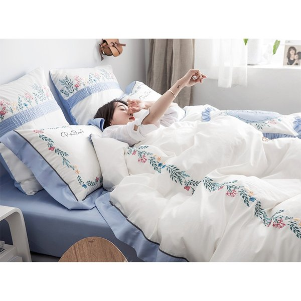 【SD/D/Q】花柄刺繍フレーム シンプルかわいい バイカラー ベッドカバー 4点セット roomfort 04