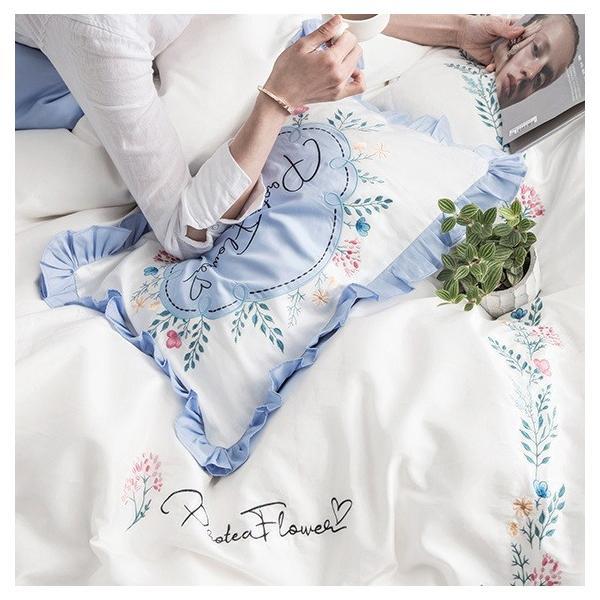 【SD/D/Q】花柄刺繍フレーム シンプルかわいい バイカラー ベッドカバー 4点セット roomfort 06