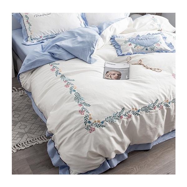【SD/D/Q】花柄刺繍フレーム シンプルかわいい バイカラー ベッドカバー 4点セット roomfort 07