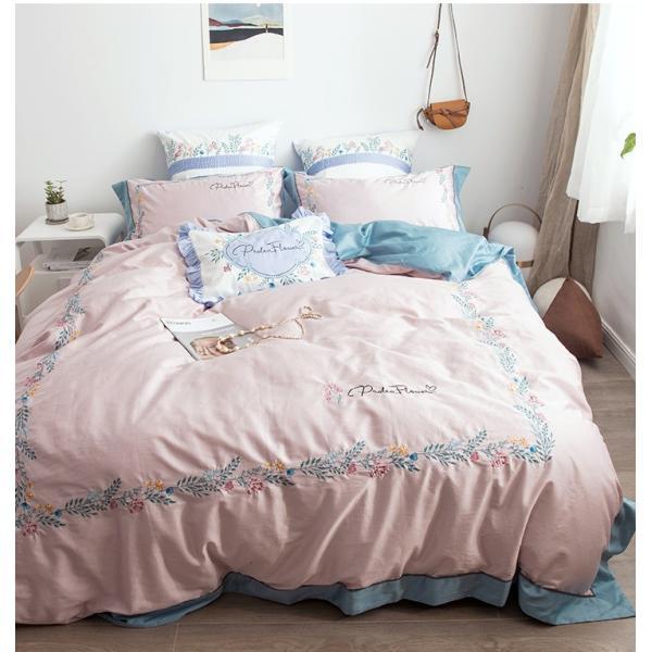 【SD/D/Q】花柄刺繍フレーム シンプルかわいい バイカラー ベッドカバー 4点セット roomfort 08
