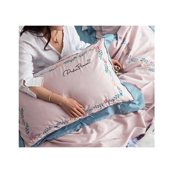 【SD/D/Q】花柄刺繍フレーム シンプルかわいい バイカラー ベッドカバー 4点セット roomfort 09