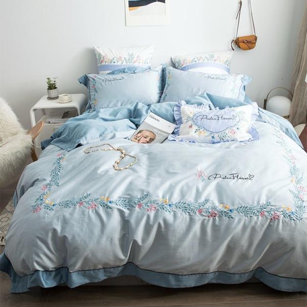 【SD/D/Q】花柄刺繍フレーム シンプルかわいい バイカラー ベッドカバー 4点セット roomfort 10