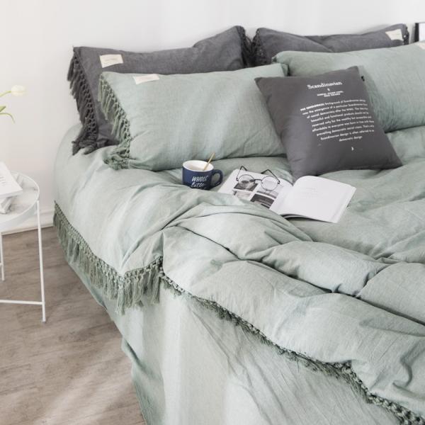 【S】くすみカラー ロングフリンジデザイン シンプル ベッドカバー3点セット|roomfort