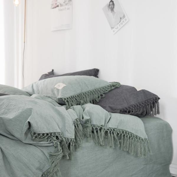 【S】くすみカラー ロングフリンジデザイン シンプル ベッドカバー3点セット|roomfort|02