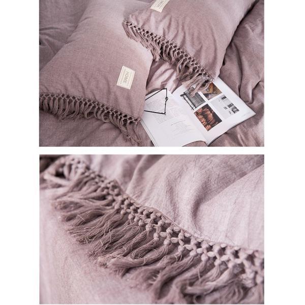 【S】くすみカラー ロングフリンジデザイン シンプル ベッドカバー3点セット|roomfort|13