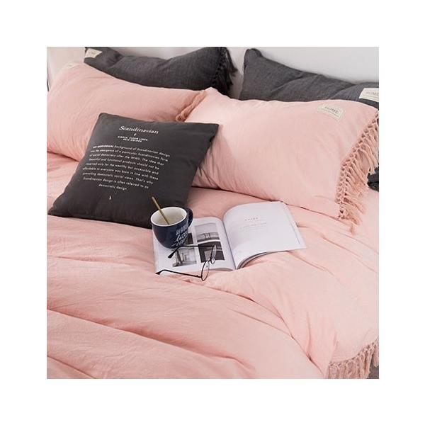 【S】くすみカラー ロングフリンジデザイン シンプル ベッドカバー3点セット|roomfort|14