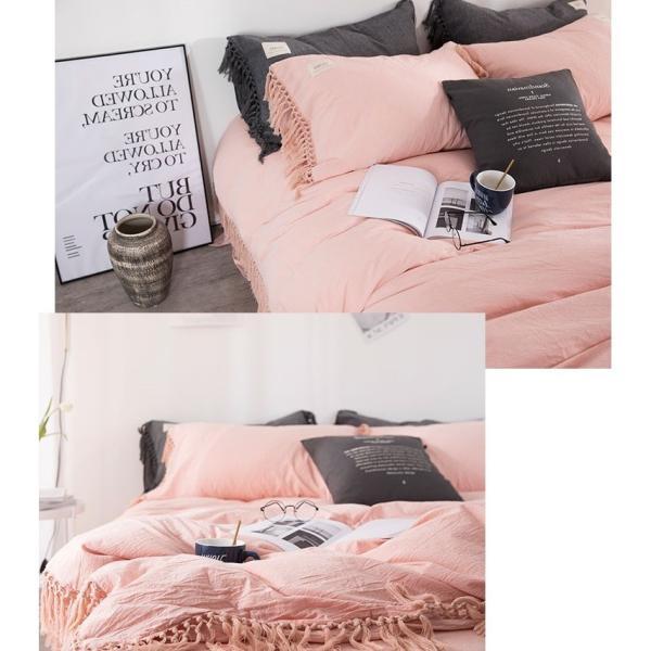 【S】くすみカラー ロングフリンジデザイン シンプル ベッドカバー3点セット|roomfort|15