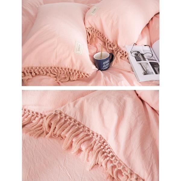 【S】くすみカラー ロングフリンジデザイン シンプル ベッドカバー3点セット|roomfort|16