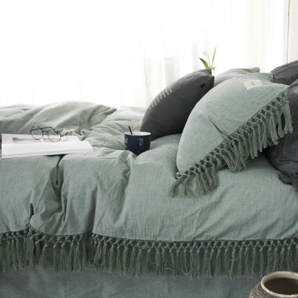 【S】くすみカラー ロングフリンジデザイン シンプル ベッドカバー3点セット|roomfort|03
