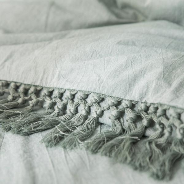 【S】くすみカラー ロングフリンジデザイン シンプル ベッドカバー3点セット|roomfort|04