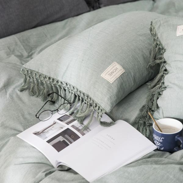 【S】くすみカラー ロングフリンジデザイン シンプル ベッドカバー3点セット|roomfort|05