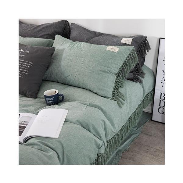 【S】くすみカラー ロングフリンジデザイン シンプル ベッドカバー3点セット|roomfort|06