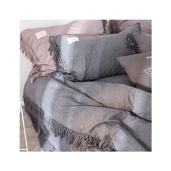 【S】くすみカラー ロングフリンジデザイン シンプル ベッドカバー3点セット|roomfort|07