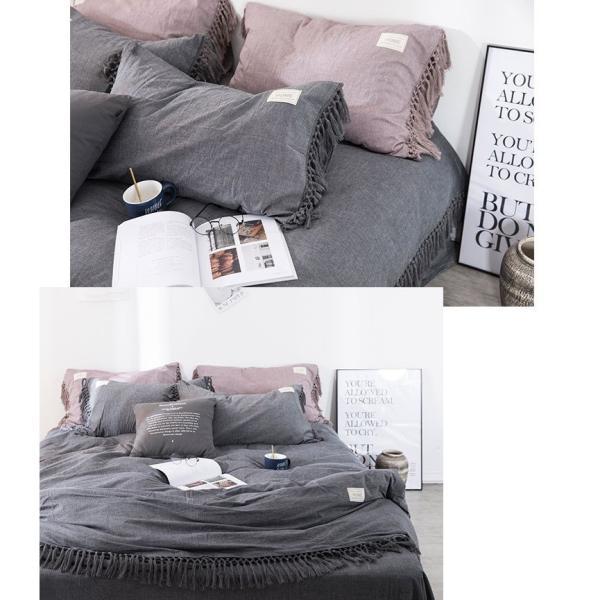 【S】くすみカラー ロングフリンジデザイン シンプル ベッドカバー3点セット|roomfort|08