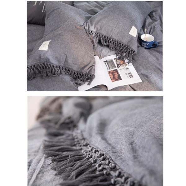 【S】くすみカラー ロングフリンジデザイン シンプル ベッドカバー3点セット|roomfort|09
