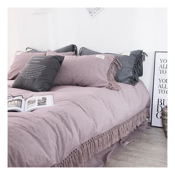 【S】くすみカラー ロングフリンジデザイン シンプル ベッドカバー3点セット|roomfort|10
