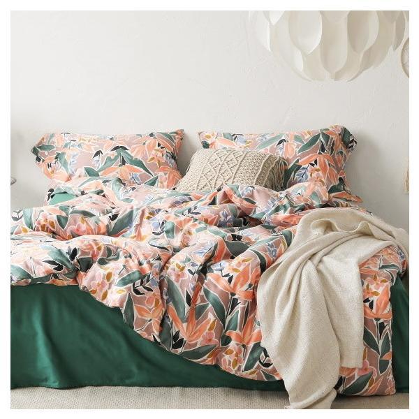 【SD/D/Q】ラグジュアリーな水彩花柄プリント コットン ベッドカバー4点セット|roomfort