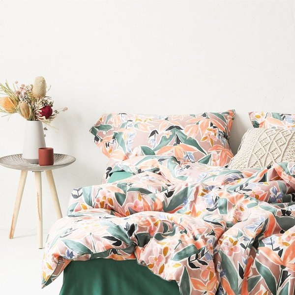 【SD/D/Q】ラグジュアリーな水彩花柄プリント コットン ベッドカバー4点セット|roomfort|11