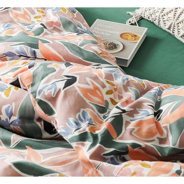 【SD/D/Q】ラグジュアリーな水彩花柄プリント コットン ベッドカバー4点セット|roomfort|04
