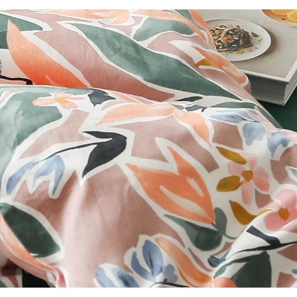 【SD/D/Q】ラグジュアリーな水彩花柄プリント コットン ベッドカバー4点セット|roomfort|07