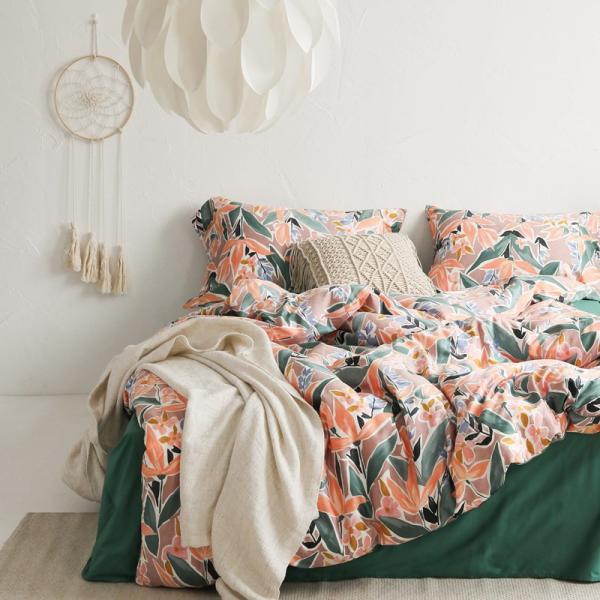 【SD/D/Q】ラグジュアリーな水彩花柄プリント コットン ベッドカバー4点セット|roomfort|08
