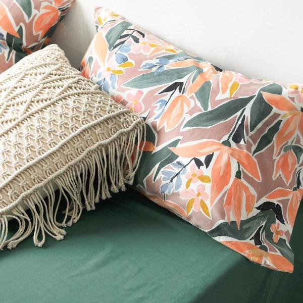 【SD/D/Q】ラグジュアリーな水彩花柄プリント コットン ベッドカバー4点セット|roomfort|10
