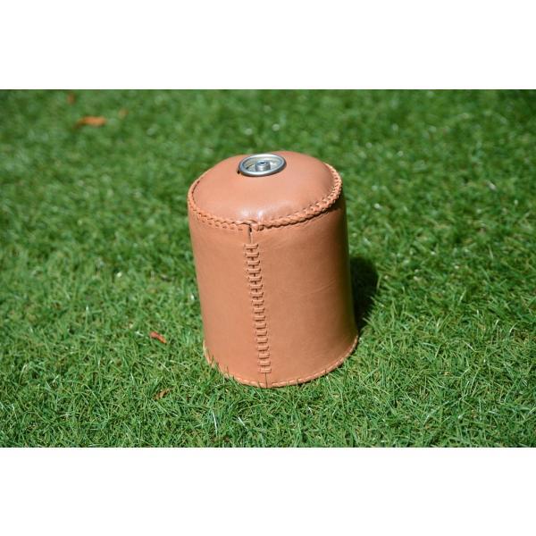 ガス缶 OD缶 カバー レザー 本革 500サイズ ケース 茶紐|roostoutdoors|05