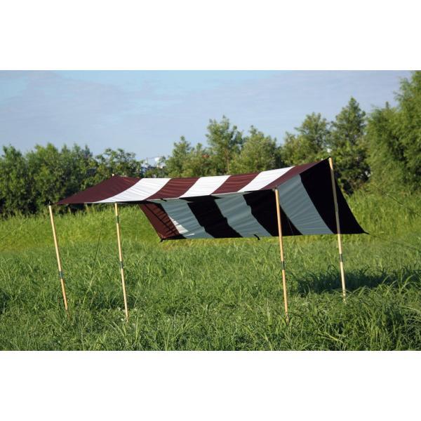 """Striped"" TC Tarp Type1(300x300 ポリコットンタープ)Dark Brown|roostoutdoors|02"