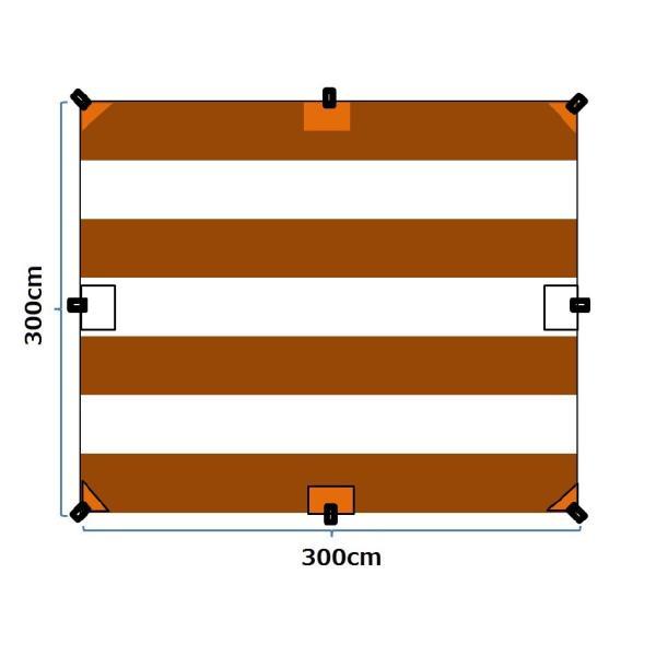 """Striped"" TC Tarp Type1(300x300 ポリコットンタープ)Dark Brown|roostoutdoors|04"