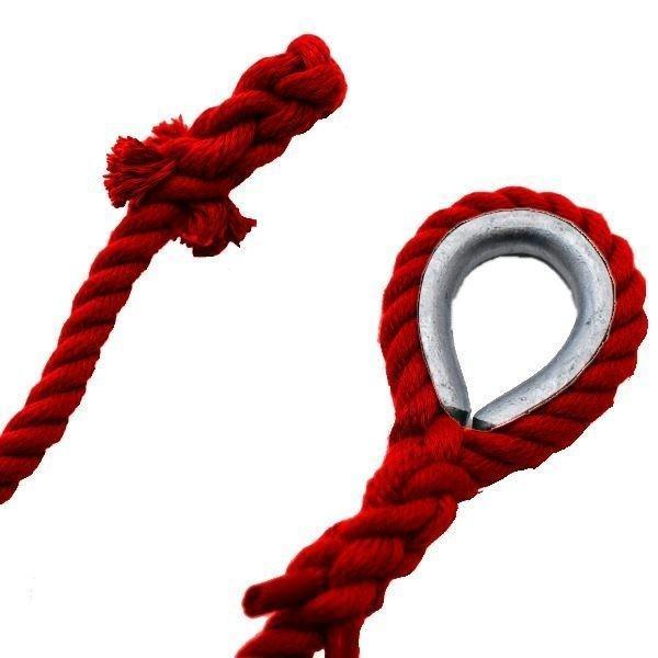 ターザンロープ カラー 登り綱 リプロン赤 30mm×4m DIY 家庭用 クライミングロープ トレーニング アスレチック 体力作り 部活 筋力アップ 遊具|rope-umeshima|02