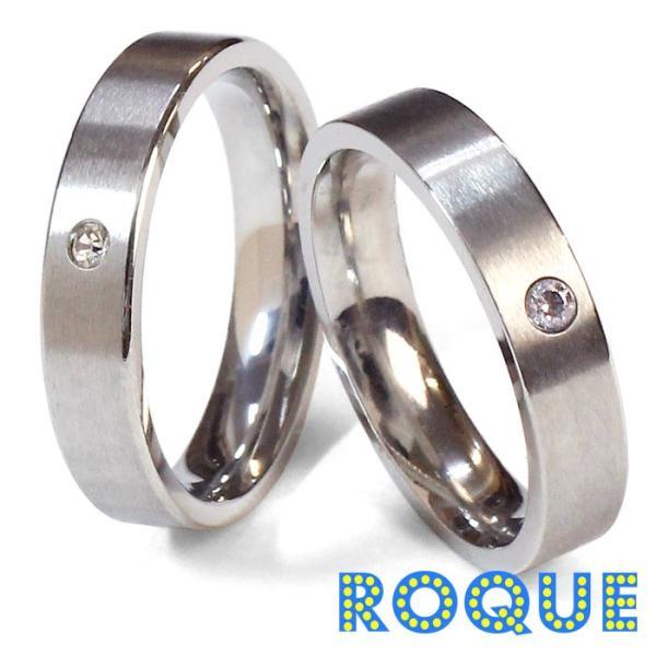 サージカルステンレスリング 指輪 ペアリング ワンポイントジュエル(リング ステンレスリング)(1個売り)(オマケ革命)