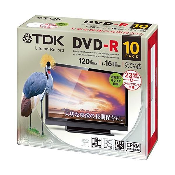 TDK 録画用DVD-R デジタル放送録画対応(CPRM) 1-16倍速 インクジェットプリンタ対応(ホワイト・ワイド) 10枚パック 5mmスリムケ rora2020