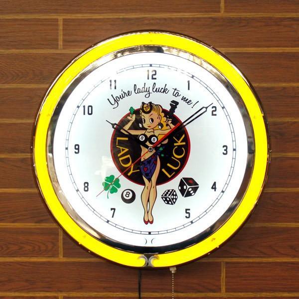 ビッグ ネオン クロック LADY LUCK レディラック 大型ネオンクロック 時計 インテリア rose-bowl