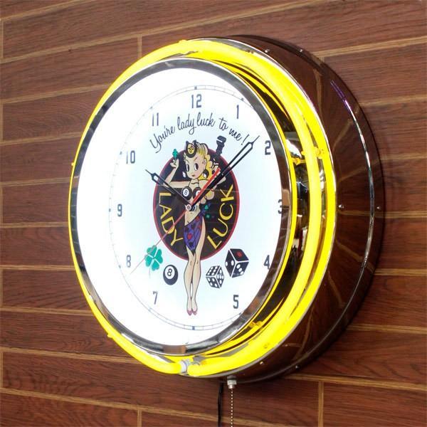 ビッグ ネオン クロック LADY LUCK レディラック 大型ネオンクロック 時計 インテリア rose-bowl 02