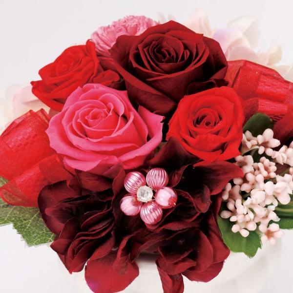 フェリーチェM レッド ウエディング ブーケ 母の日 ギフト 贈り物 誕生日 送別会 結婚式|rose-f|02